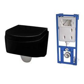 Set rezervor încastrat și vas WC, Negru