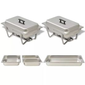 Set vase încălzire mâncare, 2 piese, oțel inoxidabil
