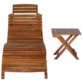 Șezlong cu masă, maro, lemn masiv de salcâm