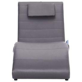 Șezlong de masaj cu pernă, gri, piele artificială