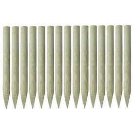 Stâlpi gard ascuțiți 15 buc, lemn de pin tratat, 4 x 100 cm