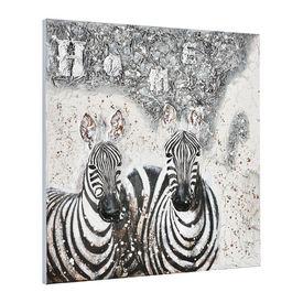 Tablou pictat manual - zebre - panza in, cu rama ascunsa - 100x100x3,8cm