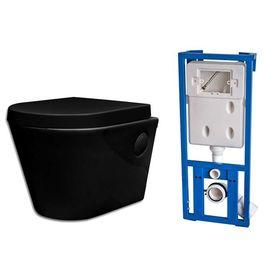 Toaletă WC Ceramică Suspendată pe Perete Baie Rezervor Ascuns Negru