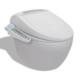 Vas toaletă suspendat cu capac electronic, Alb