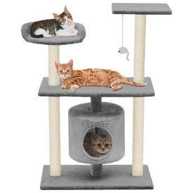 vidaXL Ansamblu pentru pisici cu stâlpi din funie de sisal, 95 cm Gri