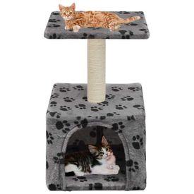 vidaXL Ansamblu pisici, stâlp funie sisal, 55 cm, imprimeu lăbuțe, gri