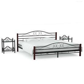 vidaXL Cadru de pat cu 2 noptiere, negru, 180 x 200 cm, metal