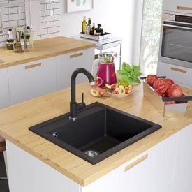vidaXL Chiuvetă din granit de bucătărie cu un bazin, Negru