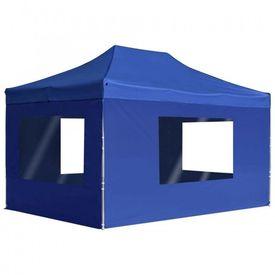 vidaXL Cort de petrecere pliabil cu pereți albastru, 4,5x3 m, aluminiu