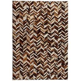 vidaXL Covor piele naturală, mozaic, 190x290 cm Zig-zag Maro/alb