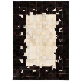vidaXL Covor piele naturală, mozaic, 80x150 cm Pătrate Negru/alb