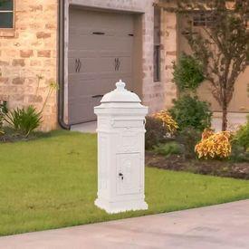 vidaXL Cutie poștală stâlp, aluminiu, stil vintage, inoxidabil, alb