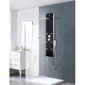 vidaXL Panou de duș, oțel inoxidabil și sticlă, 25x44, 6x130 cm, negru
