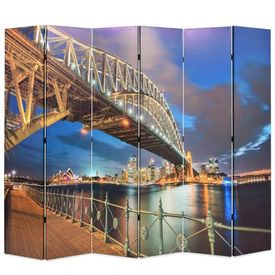 vidaXL Paravan de cameră pliabil, 228 x 180 cm, Sydney Harbour Bridge