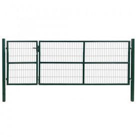 vidaXL Poartă gard de grădină cu stâlpi, verde, 350 x 120 cm, oțel