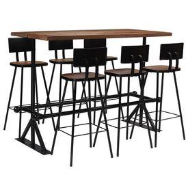 vidaXL Set de bar, 7 piese, lemn masiv reciclat