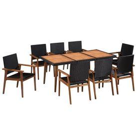 vidaXL Set mobilier de exterior, 9 piese, poliratan, negru și maro