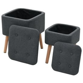 vidaXL Set scaune cu depozitare, 2 piese, gri închis, textil, pătrat