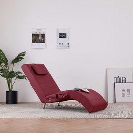 vidaXL Șezlong de masaj cu pernă, roșu vin, piele artificială