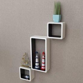 3 Rafturi cub suspendate perete, depozitare cărți/DVD, MDF alb-negru