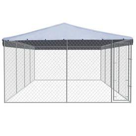 Adăpost exterior câini, cu acoperiș, oțel galvanizat 8x4 m