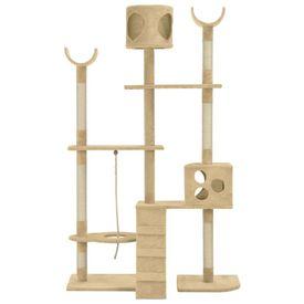Ansamblu pentru pisici cu stâlpi funie de sisal, bej, 180 cm