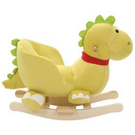 Balansoar animal cu spătar dragon pluș 60x32x53 cm verde lime