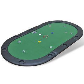 Blat de masă de poker pentru 10 jucători, pliabil, verde