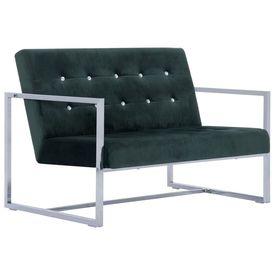 Canapea cu 2 locuri cu brațe, verde închis, crom și catifea