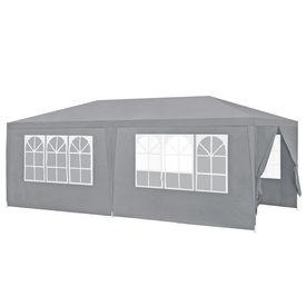 [casa.pro]® Pavilion gradina AAGP-9603, 600 x 300 x 255 cm, metal/polietilena, gri inchis