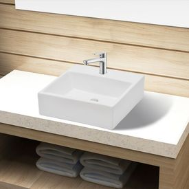 Chiuvetă de baie, ceramică, cu orificiu pentru robinet, alb, pătrat