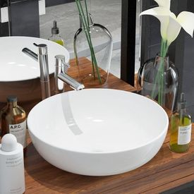 Chiuvetă de baie din ceramică, rotundă, 41,5 x 13,5 cm, alb