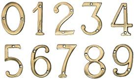 """Cifre din Alama pt Usa de Apartament """"0""""  - 1 buc"""