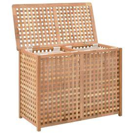 Coș de rufe, 87,5x46x67 cm, lemn masiv de nuc