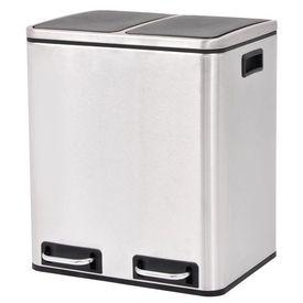 Coș gunoi cu pedale pentru reciclare, oțel inoxidabil, 2 x 15 L