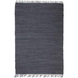 Covor Chindi țesut manual, bumbac, 200 x 290 cm, antracit
