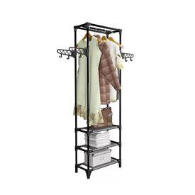 Cuier haine, oțel și textil nețesut, 55x28,5x175 cm Negru