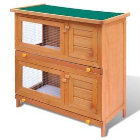 Cușcă de exterior iepuri cușcă adăpost animale mici, 4 uși, lemn