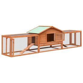 Cușcă iepuri, 303 x 60 x 86 cm, lemn masiv de pin & brad