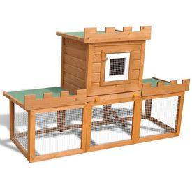Cușcă Mare de Exterior cu 1 Căsuță pentru Iepuri