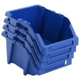 Cutii depozitare stivuibile, 75 buc, 153x244x123 mm, albastru