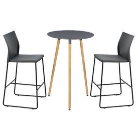 [en.casa]® Set design bar Tennessee, en.casa, masa rotunda cu 2 scaune, masa 70 x 107 cm, scaun 107 x 31 x 48 cm, MDF/plastic/metal, gri