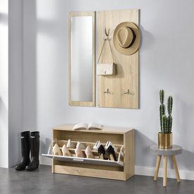 [en.casa]® Set mobila pentru hol, pantofar, cuier de perete, oglinda, lemn/melamina, culoarea lemnului