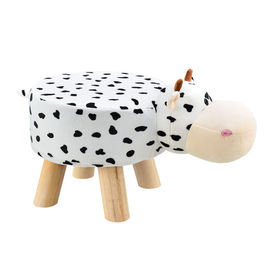 [en.casa] Scaun taburet pentru copii Pingo, model Vaca, 45 x 28 x 48 cm, 150 Kg, lemn/flanel, alb/negru