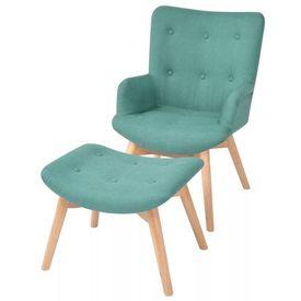 Fotoliu cu taburet pentru picioare, material textil, verde