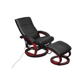 Fotoliu de masaj electric, cu taburet, piele artificială, negru
