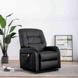 Fotoliu TV rabatabil electric cu masaj, negru, piele ecologică