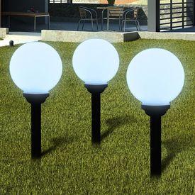 Lămpi solare pentru exterior cu LED-uri + țăruși, 20 cm, 3 buc