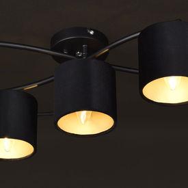 Lustra Montreal, 83 x 54 x 18 cm, 5 x E14, max. 40W, metal/flanel, negru