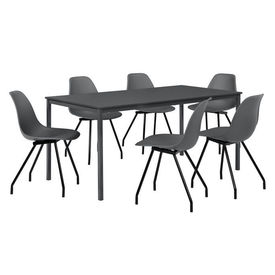 Masa bucatarie/salon design elegant (160x80cm) - cu 6 scaune elegante (gri inchis)